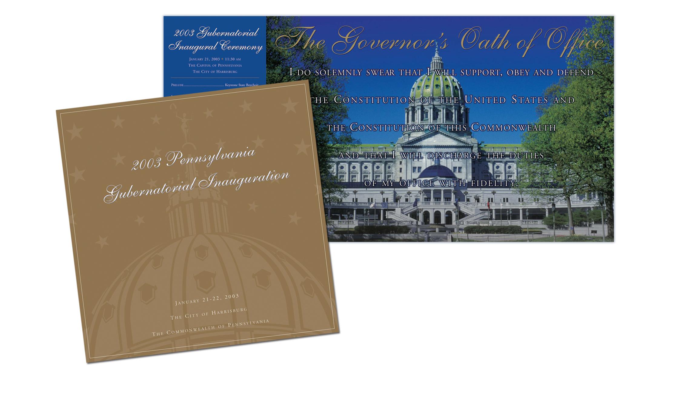 2003 PA Gubernatorial Inauguration Program
