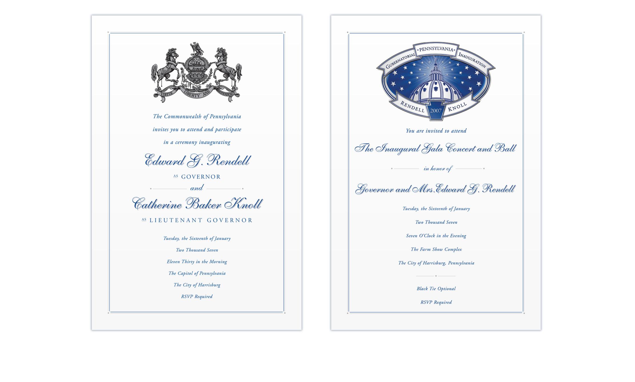 Rendell Knoll 2007 Inaugural Invitations
